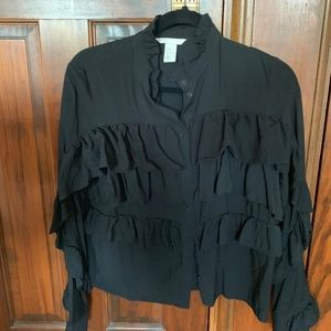 H&M Trend Black cotton Ruffle Top